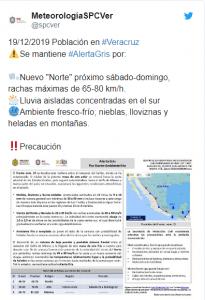 MANTIENEN ALERTA GRIS EN VERACRUZ POR FRENTE FRÍO NO. 23