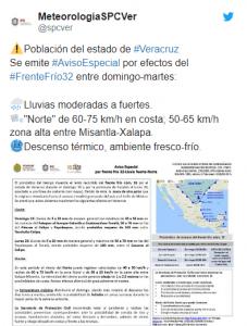 EMITEN AVISO ESPECIAL POR NORTE Y FRENTE FRÍO NO. 32 EN VERACRUZ