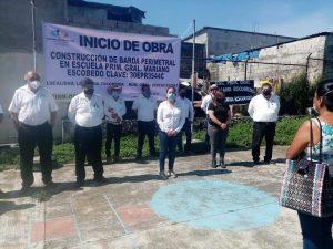 AUTORIDADES DE MARIANO ESCOBEDO INICIAN OBRA EN ESCUELA.
