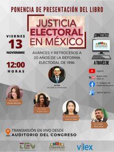 Impartirá magistrado José Oliveros ponencia de Justicia Electoral en México, avances y retrocesos a 20 años de la reforma electoral de 1996.