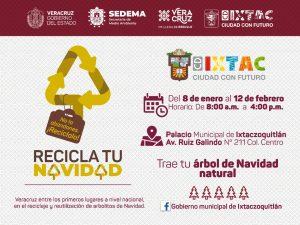 """Invita Ayuntamiento de Ixtaczoquitlán a la campaña """"Recicla tu Navidad 2021"""""""