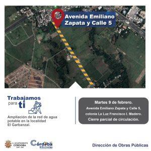 Ayuntamiento de Córdoba amplia red de agua potable, anuncia cierre parcial de vialidad.