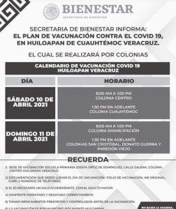 Este sábado inicia la aplicación de la vacuna contra COVID19  en Huiloapan.